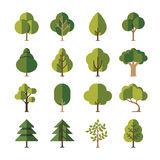 Green summer forest tree flat vector icons Royalty Free Stock Image