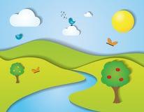 Green summer landscape  illustration Stock Photos