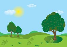 Green summer landscape. Vector. Stock Images