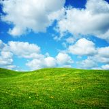 Green summer meadow and clouds Stock Photos