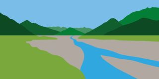 Green summer mountain landscape with blue creek vector illustration
