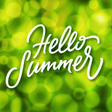 Green summertime background with bokeh effect and handmade lettering. Green summertime background with defocused lights bokeh effect and handmade lettering Hello vector illustration