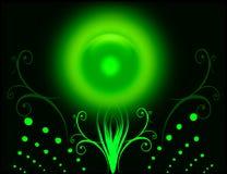 Green sun. SUN light with dark background designing stock illustration