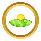 Green and sun vector icon. In golden circle, cartoon style isolated on white background Royalty Free Stock Image