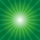 Green sunburst background. With light rays stock illustration