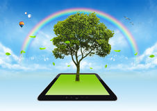 Green sunlight tree. Technological eco Stock Photo