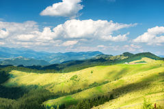 Green sunny valley in mountains Royalty Free Stock Photo