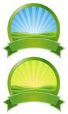Green Sunrise Banners Stock Image