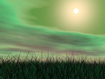 Green sunset - 3D render Royalty Free Stock Images
