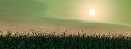 Green sunset - 3D render Stock Photo