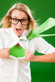 Green Superhero Businesswoman crazy face Stock Image