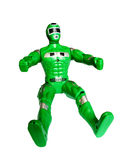 Green superhero isolated. Green superhero toy, isolated, with clipping path for photoshop, with path, for designer Stock Photo