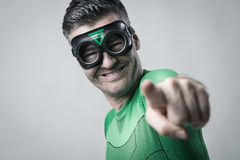 Green superhero wants you! Stock Photos