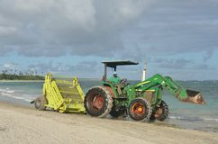 Green surf rake on tractor Stock Photo