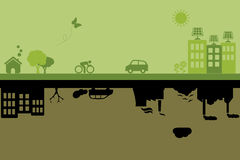 Green sustainable and polluted cities. Green city with sustainable living versus polluted industrial city Stock Photo