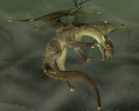 Green Swamp Dragon. Green dragon hunting in a swamp, 3d digitally rendered illustration Royalty Free Stock Photos
