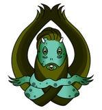 Green swamp monste. Scary green swamp monster illustration isolated on white Royalty Free Stock Image