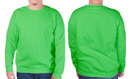 Green sweater long sleeved shirt mockup template Stock Photo