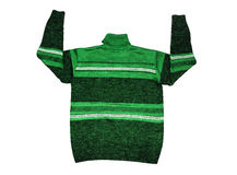 Green sweater. Green men's sweater showing sign arms up Stock Image
