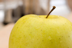 Green sweet apple in macro closeup shot Royalty Free Stock Photo