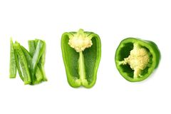 green sweet bell pepper with slices isolated on white background top view royalty free stock photos