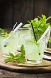 Green sweet cocktail with fresh mint and ice Royalty Free Stock Photos