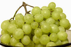 Green sweet grape isolated on white Stock Photos