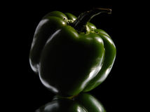 Green sweet pepper on a black background Stock Photos