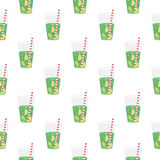 Green sweet water with lime and lemon. Seamless pattern. Stock Photo