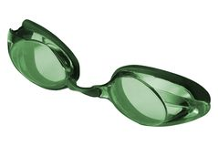 Green Swimming goggles isolated on white stock photo