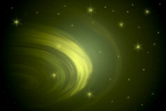 Green Swirling Vortex. Green Mysterious Swirling Vortex With Misty Scattering of Stars Vector Illustration
