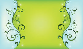 Green swirly background. Abstract illustration of swirly background with sparkles in blue and green colour stock illustration