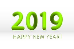 Green 2019 symbol, happy new year isolated on white background, vector illustration. Art stock illustration