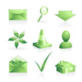 Green symbols set Royalty Free Stock Image