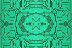 Green symmetrical electronic microcircuit taken closeup.Backgrou Stock Photo