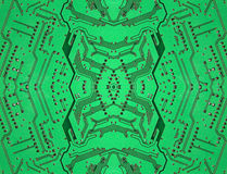 Green symmetrical electronic microcircuit taken closeup. Royalty Free Stock Photo