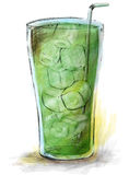 Green syrup. In a glass vector illustration
