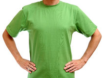 Green t-shirt on young man Royalty Free Stock Photo