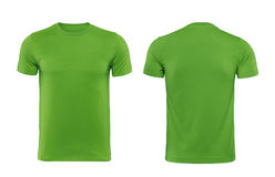 Green T-shirts front and back used as design template. Green T-shirts front and back used as design template with clipping path stock photos