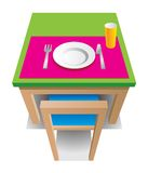 Green table. With chair, cup, plate, knife and fork stock illustration