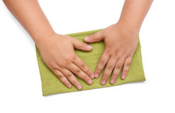 Green table cleaning rag Stock Image