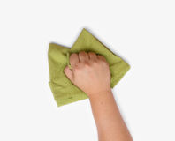 Green table cleaning rag Stock Images