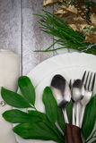 Green Table Setting Royalty Free Stock Image