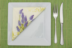 Green table setting Stock Images