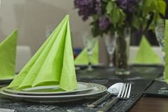Green table setting. Table setting with green elements Royalty Free Stock Photos