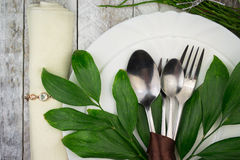 Green Table Setting Stock Photography