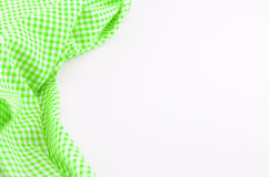 Green Tablecloth textile on white background Stock Photos