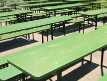 Green tables Royalty Free Stock Photography