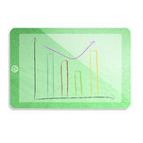 Green tablet with graph isolate made from tissue paper craft Stock Photo