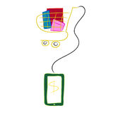 Green tablet with shopping cart isolate made from tissue paper c Royalty Free Stock Image